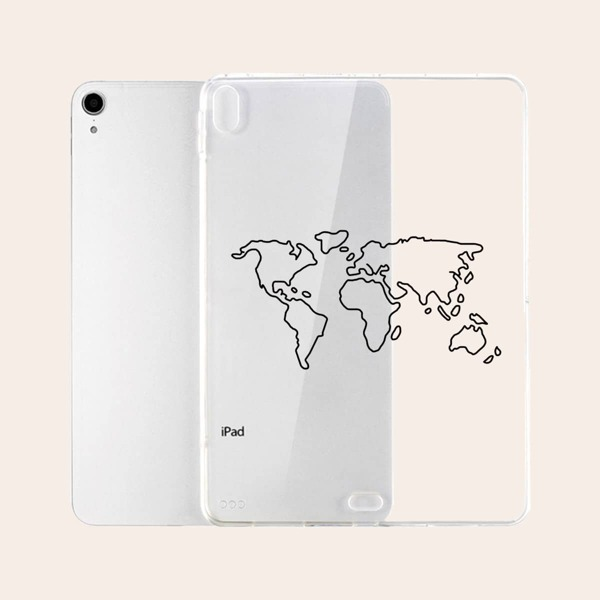 Clear Map Pattern Case For iPad