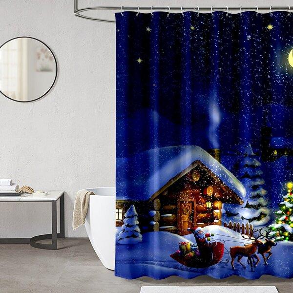 Christmas House Print Shower Curtain, Blue