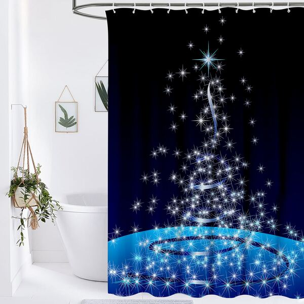 Christmas Star Print Shower Curtain, Blue