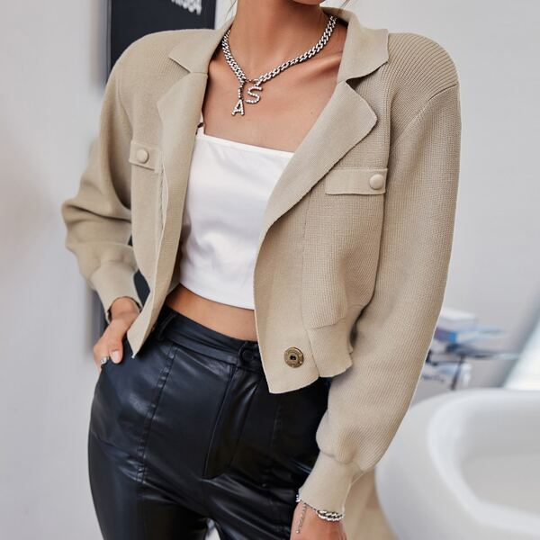 Solid Lapel Neck Buttoned Cardigan, Khaki