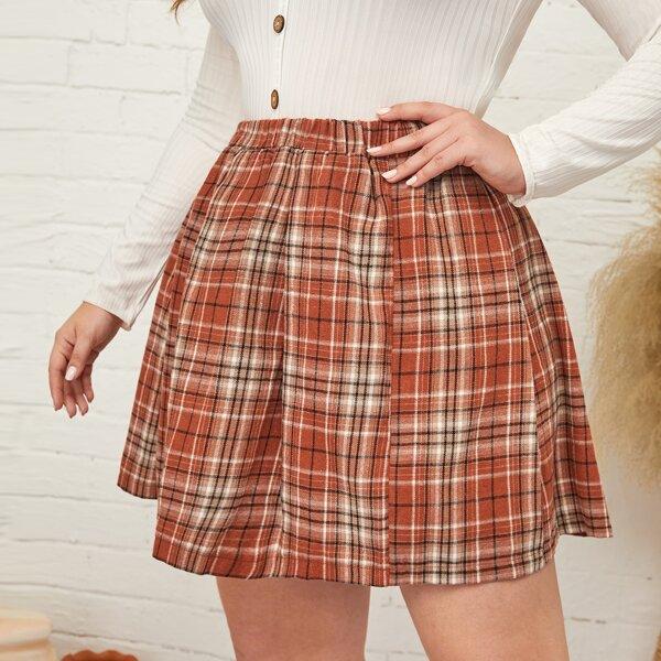 Plus Tartan Elastic Waist Skirt, Red