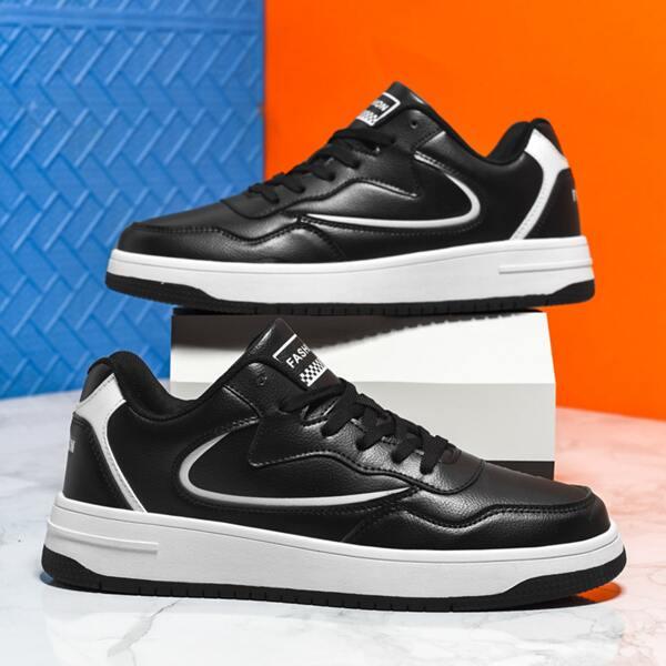 Men Letter Graphic Textured Lace-up Front Skate Shoes, Black