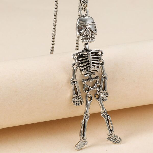 Halloween Skull Charm Necklace, Antique silver