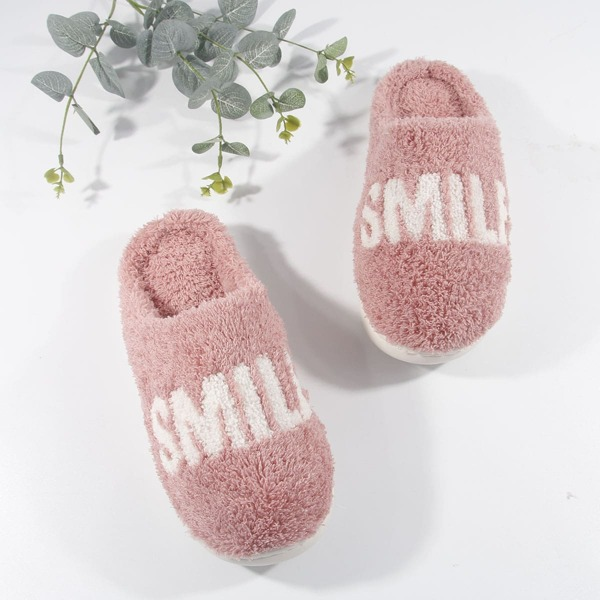 Fuzzy Letter Graphic Slippers, Baby pink