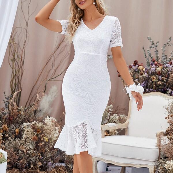 Mermaid Hem Lace Bridesmaid Dress, White