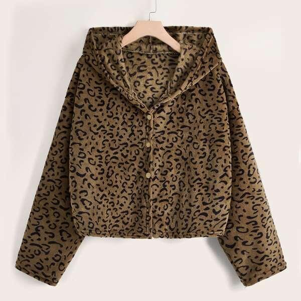 Plus Leopard Pattern Hooded Flannel Coat, Multicolor