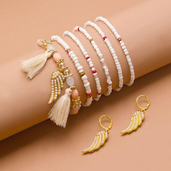 Girls Wing Charm Drop Earrings & 6pcs Beaded Bracelet, Multicolor