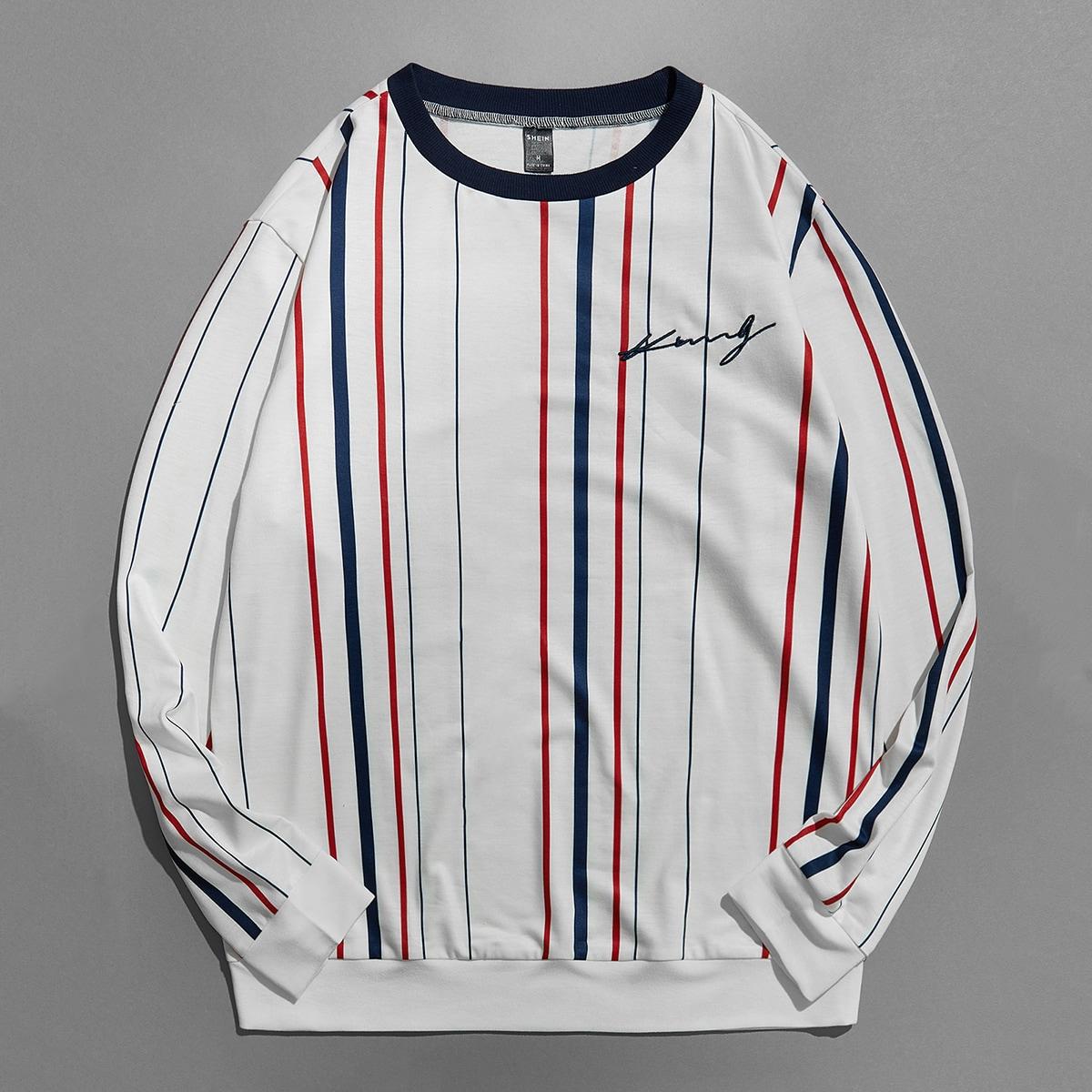 Men Letter Embroidery Striped Sweatshirt