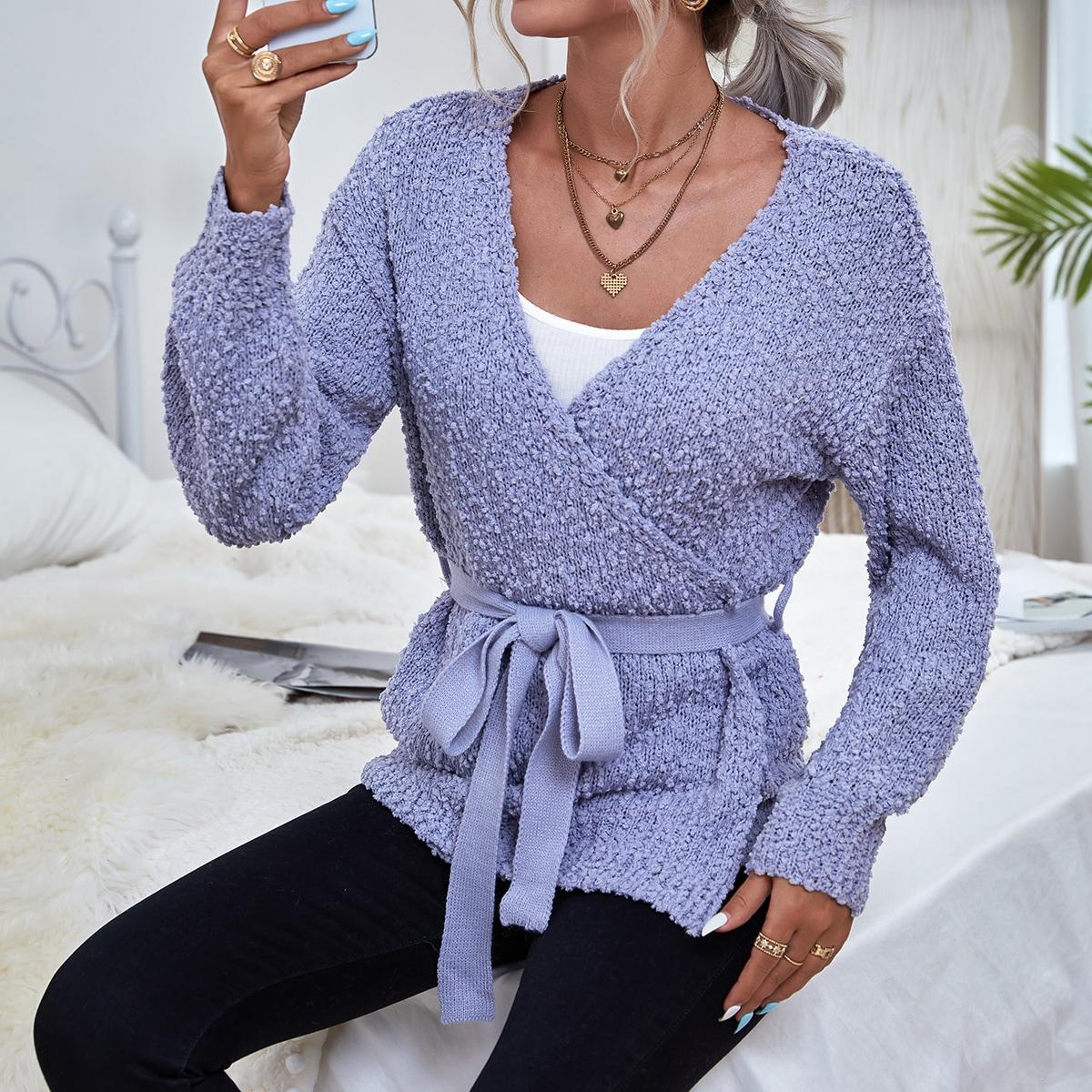 Cardigan en tricot à plumetis ceinturé