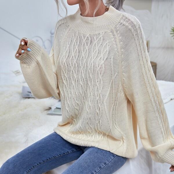 Raglan Sleeve Cable Knit Sweater, Beige