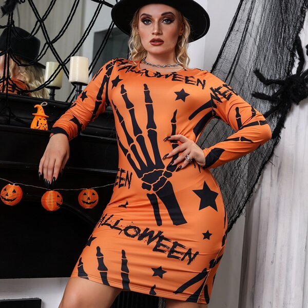 Plus Halloween Print Round Neck Dress, Orange