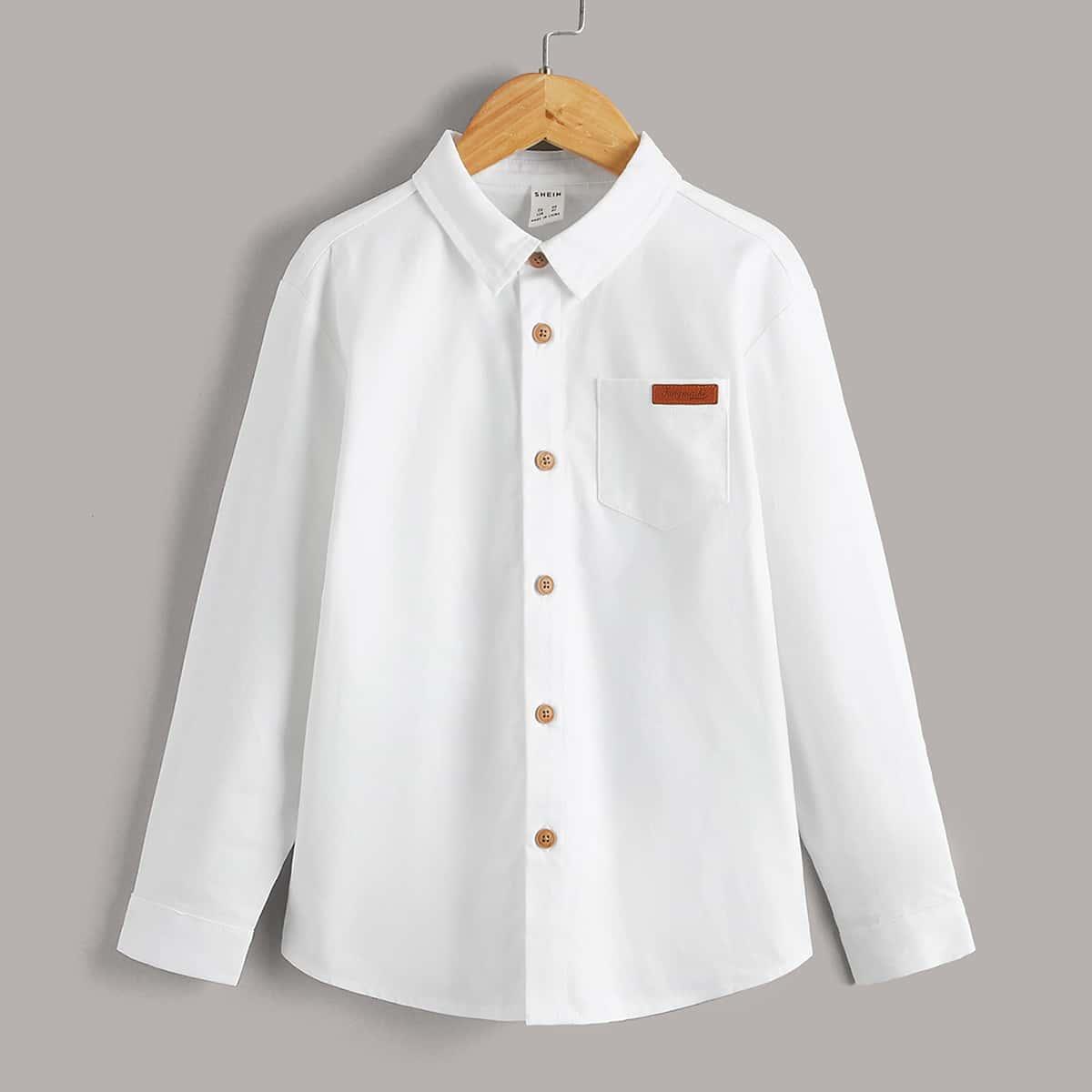 для мальчиков Рубашка с заплатой с карманом на пуговицах