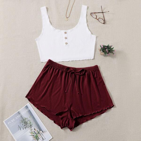 Plus Single Breasted Crop Tank Top & Knot Front Shorts PJ Set, Red and white