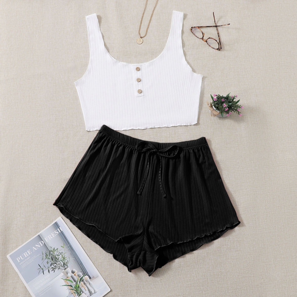 Plus Single Breasted Crop Tank Top & Knot Front Shorts PJ Set, Black and white