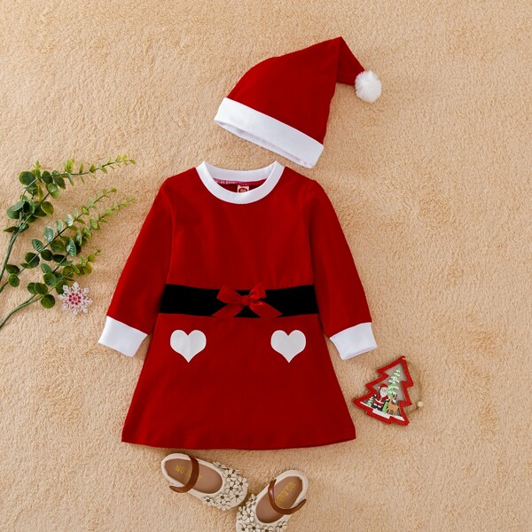 Baby Christmas Heart Print Bow Front Dress With Hat, Red