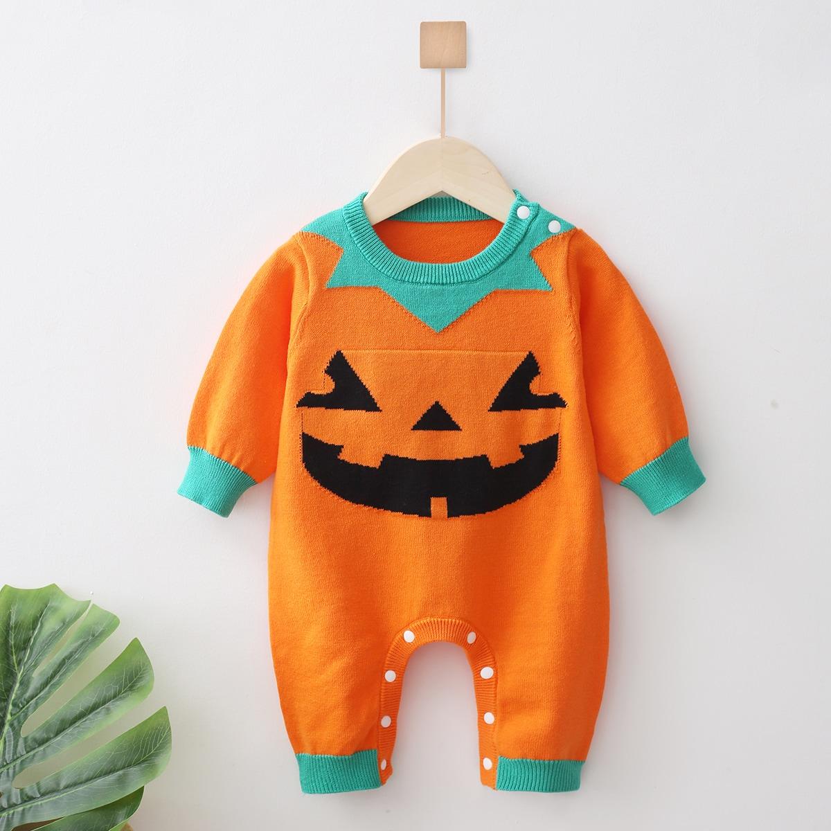 Вязаный комбинезон с принтом хэллоуин с пуговицами для детей