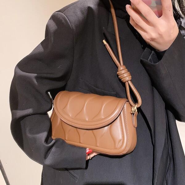 Minimalist Textured Flap Baguette Bag, Brown