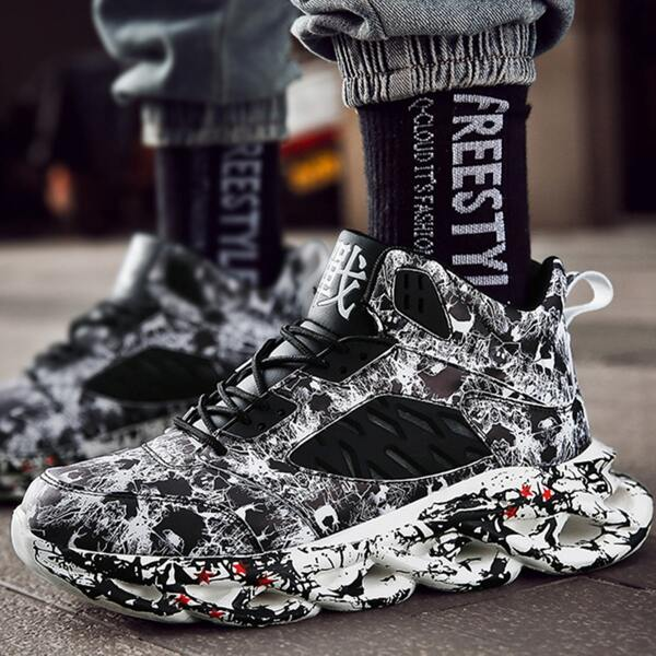 Men Chinese Letter Graphic Lace-up Front Chunky Sneakers, Black and white