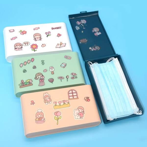 1pc Cartoon Graphic Random Face Cover Storage Box, Multicolor