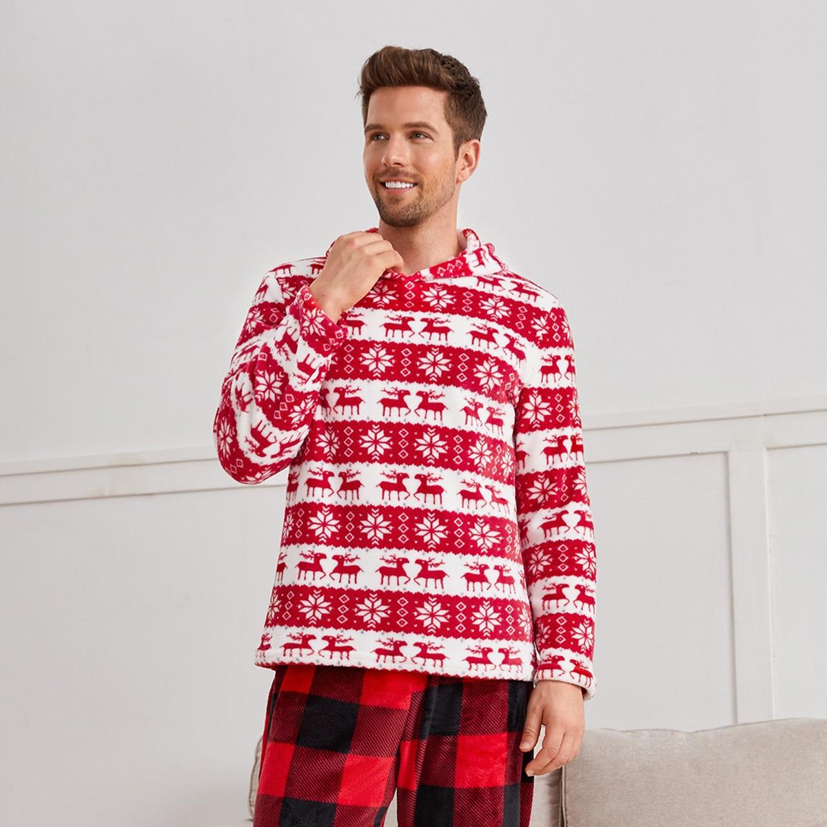 Top de pijama con capucha con estampado de Navidad