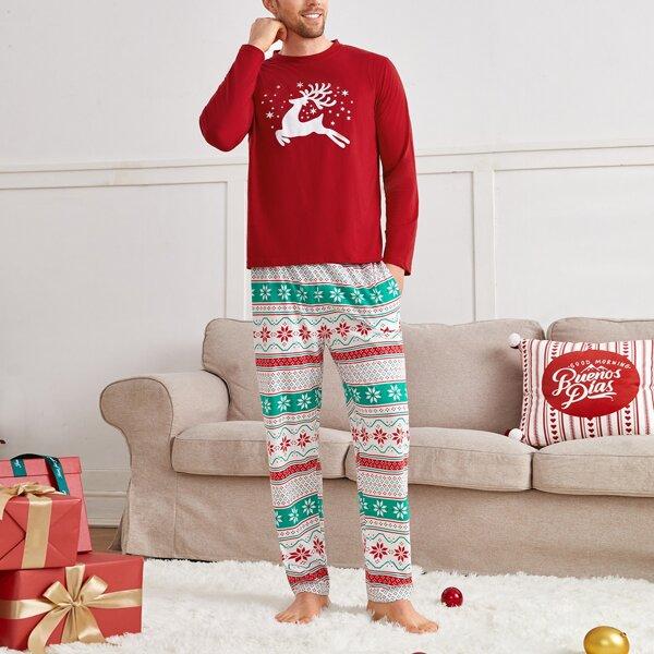 Men Christmas Elk & Geo Print PJ Set, Multicolor