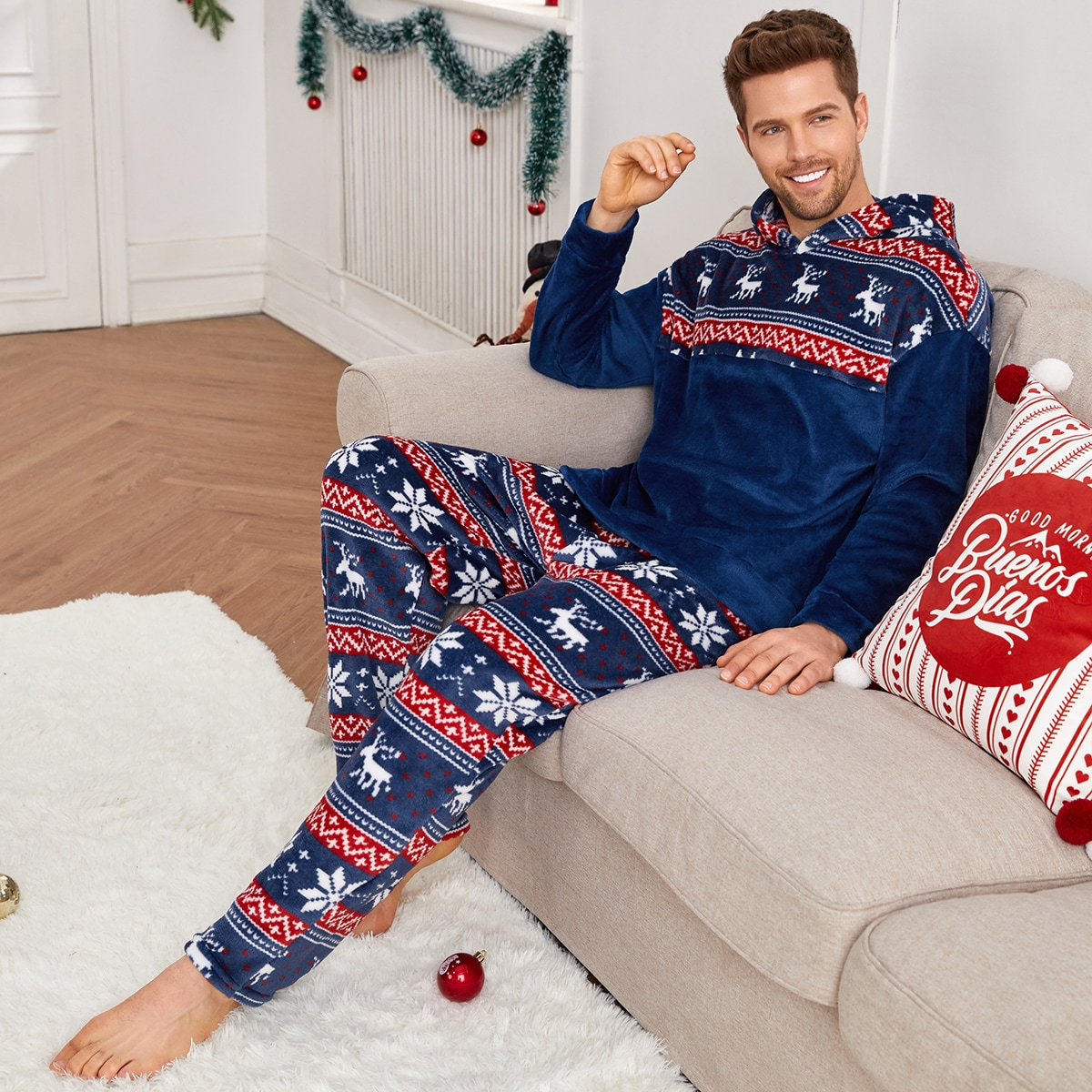Men Christmas Print Drop Shoulder Teddy Hoodie & Pants PJ Set