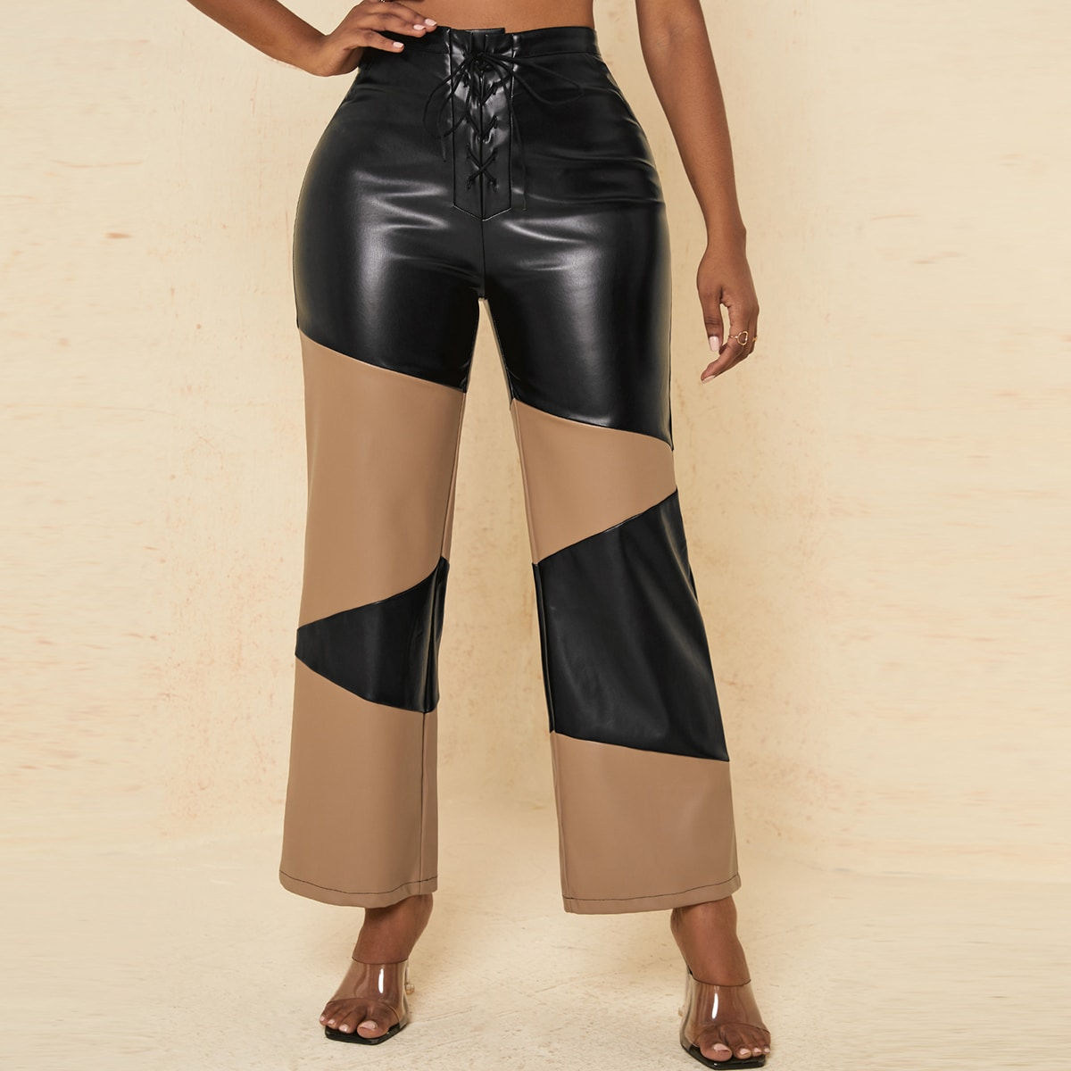 High Waist Two Tone Lace Up Front PU Leather Pants