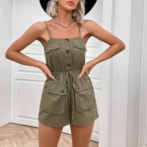 Flap Pocket Half Button Knotted Front Cami Romper, Army green