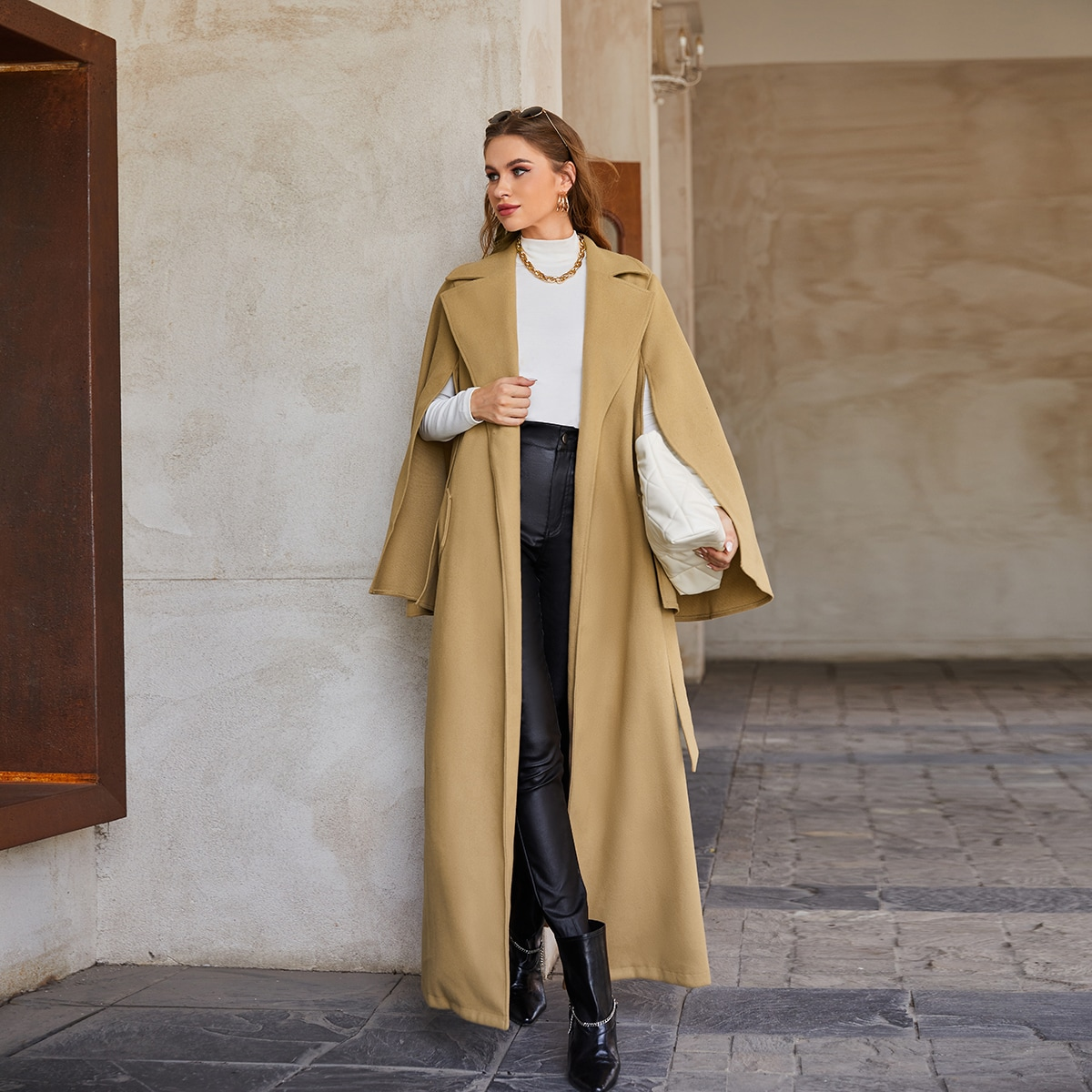 Notched Collar Cloak Sleeve Belted Overcoat