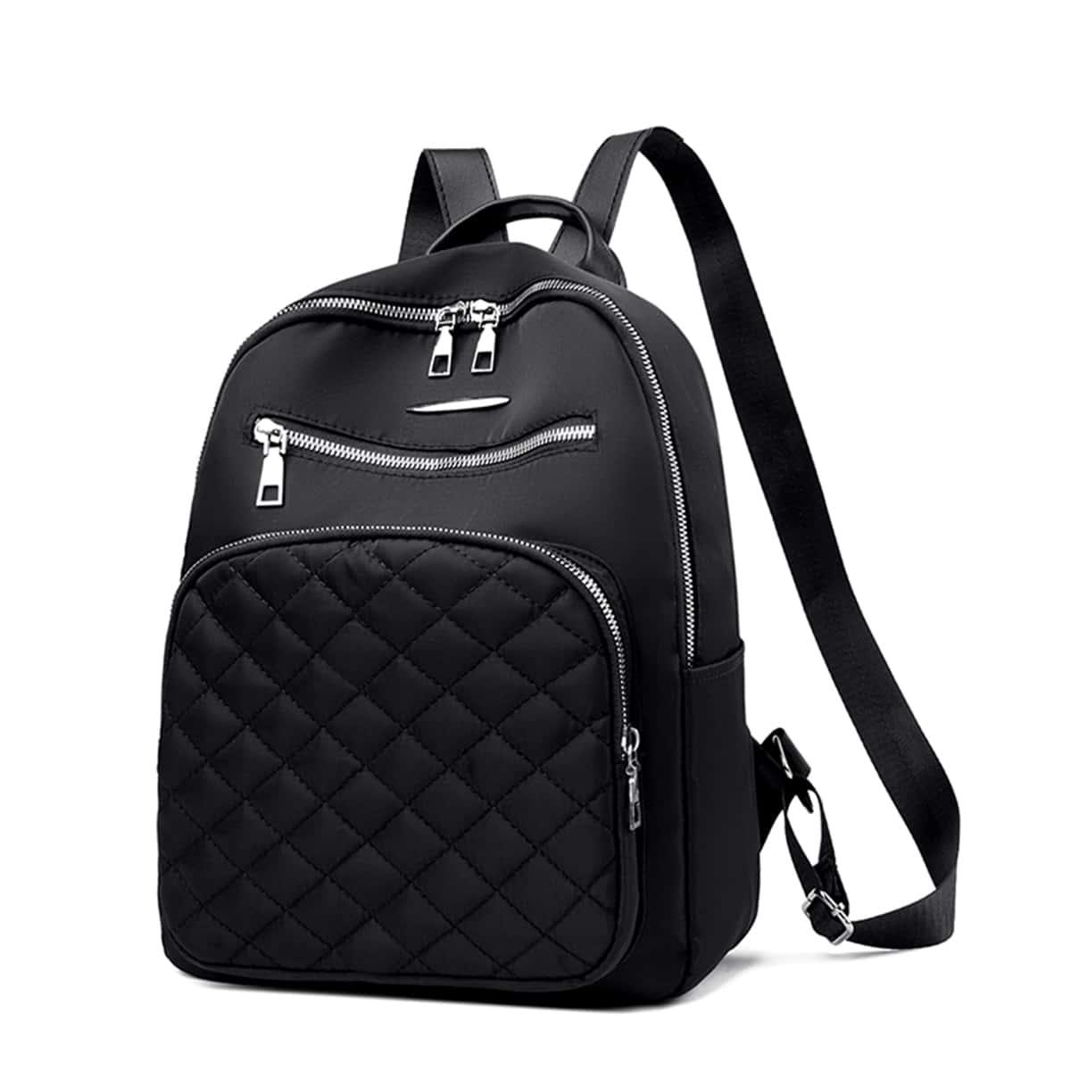 Классический рюкзак стеганый с рисунком с карманом