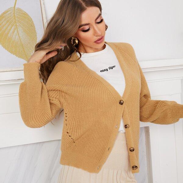 Raglan Sleeve Ribbed-knit Cardigan, Camel