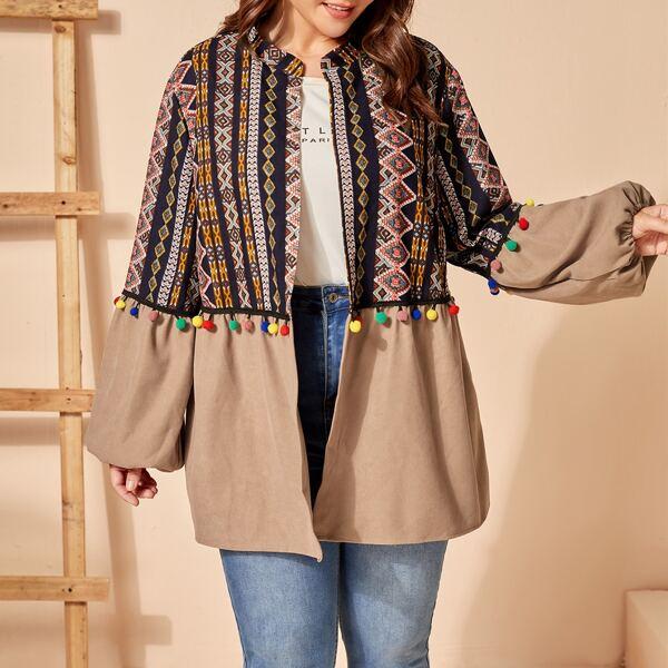 Plus Geo Print Pom Pom Bishop Sleeve Coat, Multicolor