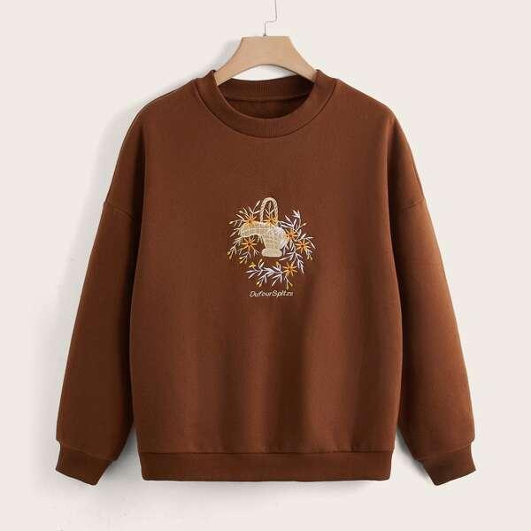 Plus Letter & Plants Print Drop Shoulder Sweatshirt, Coffee brown