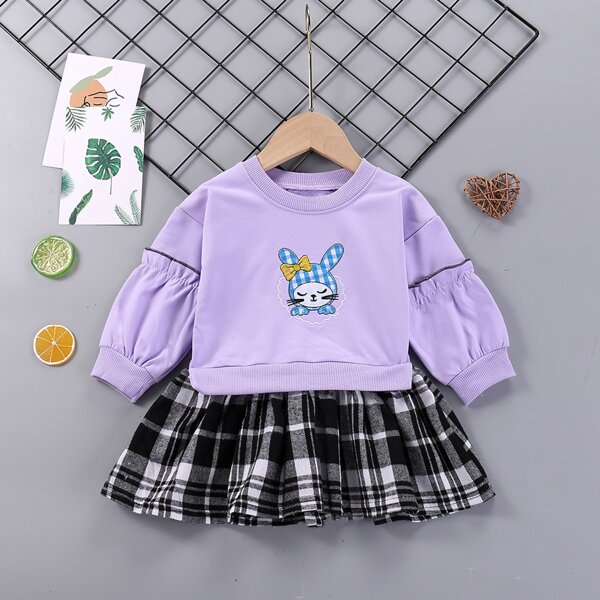 Baby Cartoon Embroidery Frill Trim Contrast Plaid Hem Sweatshirt Dress, Multicolor
