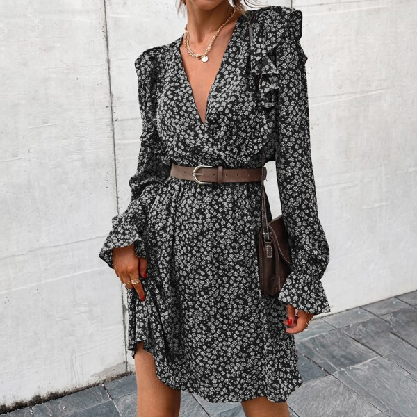 Surplice Neck Ditsy Floral Print Ruffle Trim Flounce Sleeve Dress Without Belt, Black and white