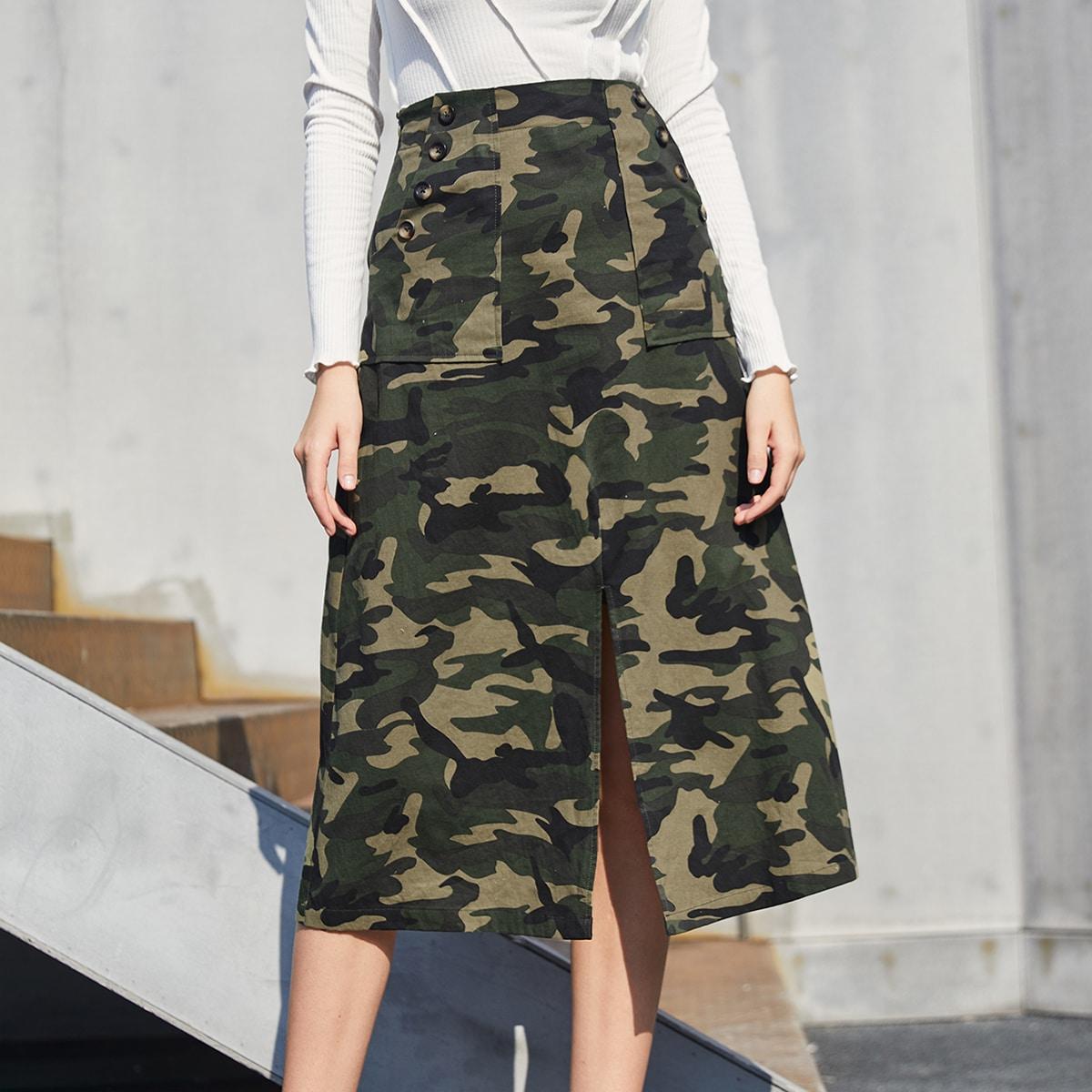 High Waist Camo Print Split Hem Skirt