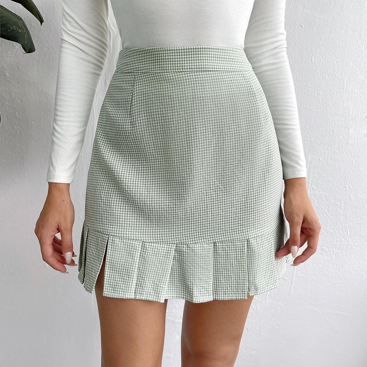 High Waist Gingham Split Pleated Hem Skirt
