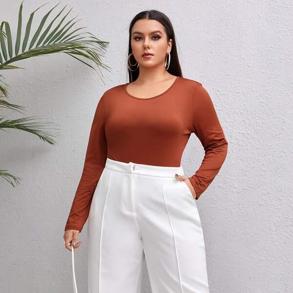 Plus Solid Scoop Neck Slim Fit Bodysuit, Rust brown