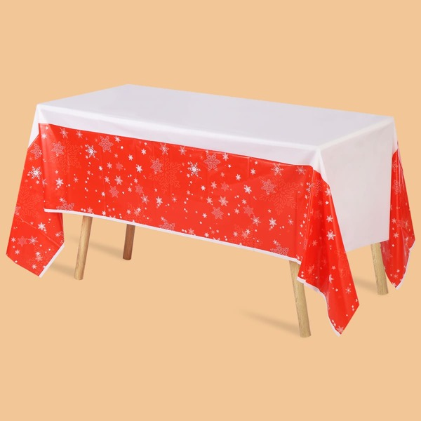 Christmas Snowflake Print Disposable Tablecloth, Red and white