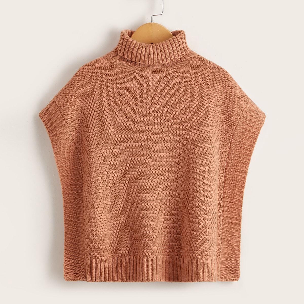 Girls Solid Turtleneck Batwing Sleeve Sweater Vest