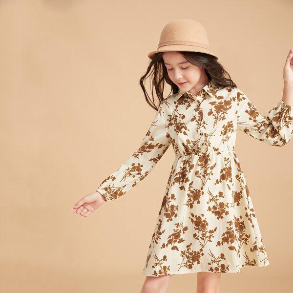 Girls Floral Print Button Front Dress, Apricot