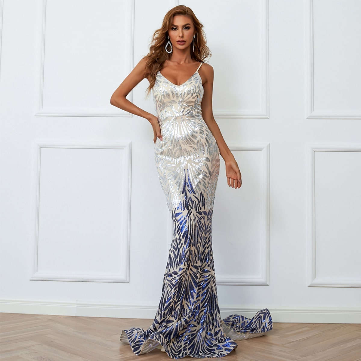 Color Block Backless Mermaid Hem Sequin Floor Length Prom Dress