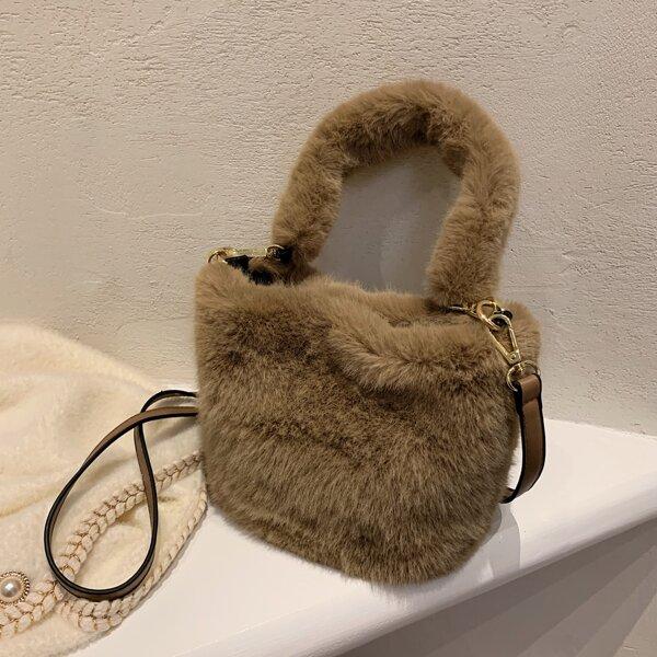 Minimalist Fluffy Satchel Bag, Coffee brown