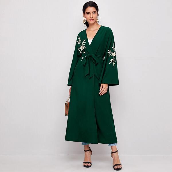 Drop Shoulder Botanical Embroidery Belted Abaya, Dark green