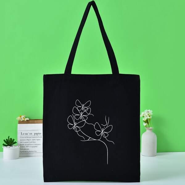 Floral Graphic Shopper Bag, Black