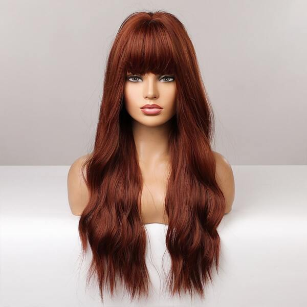 Lace Front Long Curly Synthetic Wig With Bangs, Maroon