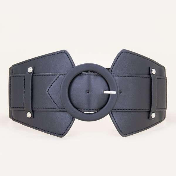 Round Buckle Corset Belt, Black