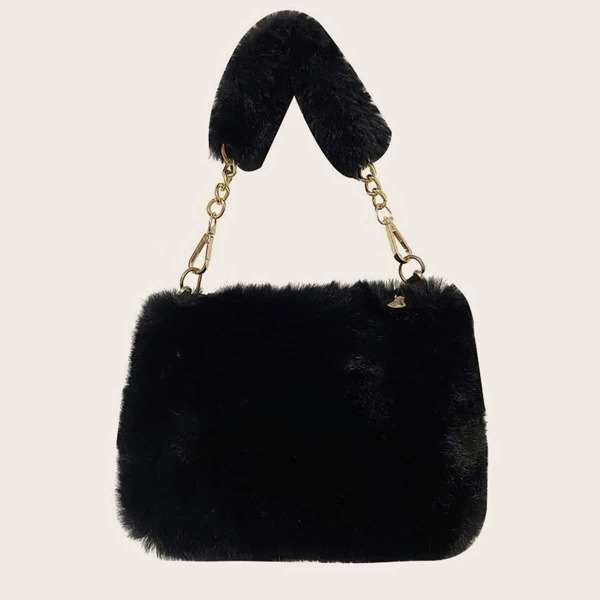 Minimalist Fluffy Chain Satchel Bag, Black