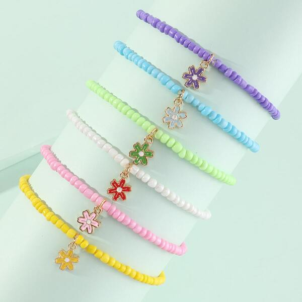 6pcs Girls Flower Charm Beaded Bracelet, Multicolor