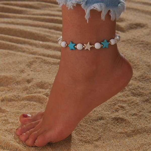 Girls Beaded Anklet, Multicolor